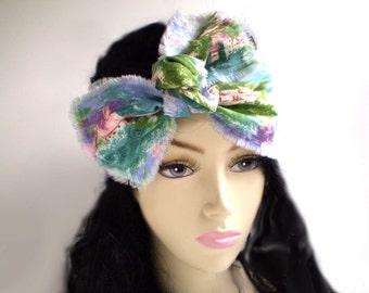 Monet Inspired Artist Head Scarf, Artists Headwrap, Impressionism Head Wrap, Artist Headband