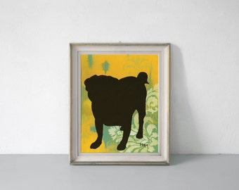 Pug Art Print, Silhouette Wall Decor, 11 x 14 inches