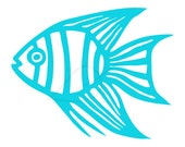 Tropical fish digital stamp clip art in turquoise and black angelfish