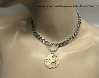 BDSM Day Collar Triskele Pendant Personalized Engraved with Initials for Submissive or Slave Choker Necklace Locking or Lobster Clasp