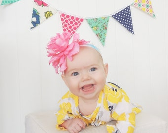 Banner, Bunting, Pennant Fabric Flags, Navy Blue, Yellow, Emerald Green, Hot Pink , Polka Dot, Floral, Baby Girl Nursery Decor, Shower
