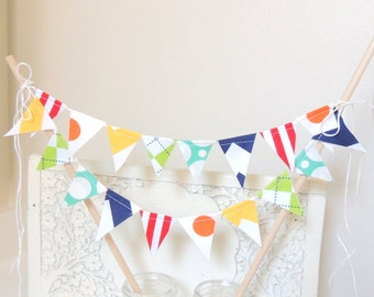 Birthday Cake Topper Banner, Fabric Bunting Flags, Birthday, Yellow Chevron, Orange, Teal, Lime Argyle, Red Stripe, Baby Boy Nursery Decor