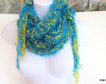 Long luxury crochet scarf, blue and green fashion scarf, fashion neck warmer