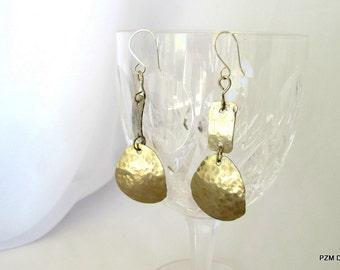 Hammered silver earrings. silvertone dangle earrings, modern metal jewelry, gift under 40