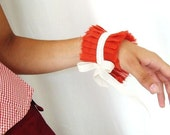 Red Ruffles Cuff Armband Neo-Romantic Cuff in Ultra Thin Red Cotton and Champagne Ribbon