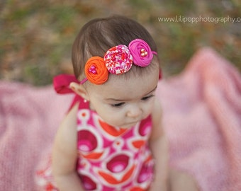 Notting And Hill- triple rosette in bright pink and orange headband