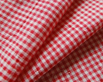 Antique HOMESPUN Fabric Primitive - Turkey Red and White Check- Off 1900-1910 Quilt- Half Yard