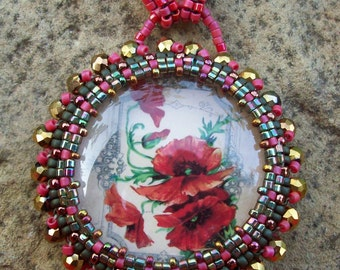 Red Poppies Seed Bead Woven Necklace