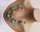 Beautiful Bright Cyan and Coral Statement Necklace with AB Swarovski Crystals OOAK