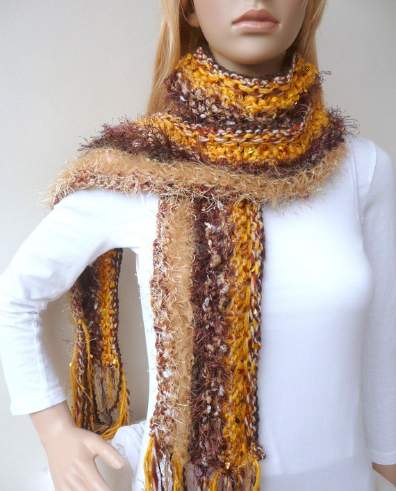 Hand knit scarf - Gold and Brown - Hawthorn scarf - designer sport  fan scarf - 8 different yarns