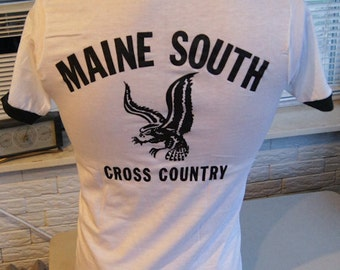vintage (t shirt) CRoSS CoUNTRY MAiNE SoUTH HiGH SCHOoL 80s Ringer (34 inches around chest)