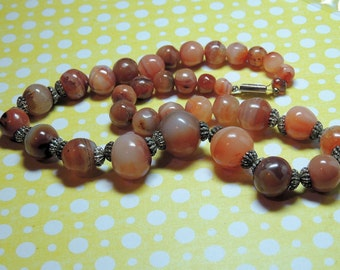 Red Banded Fire Agate Vintage Necklace Jewelry Orange