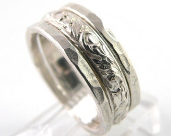 Patterned and Hammered Set of 3 Sterling Silver Stacking Ring