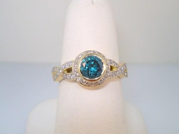 Blue & White Diamond Engagement Ring 1.30 carat  14K Yellow Gold HandMade Ring Micro Pave Set handmade