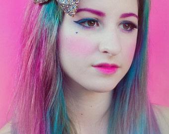 Rainbow Allsorts Glitter Bow, Sparkly Glitter Bow, Party Hair Bow, Rainbow and Gold Glitter Hair Bow
