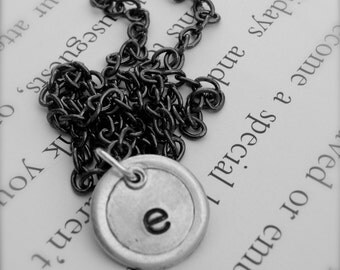 Personalized Initial Silver Stamped Letter Necklace