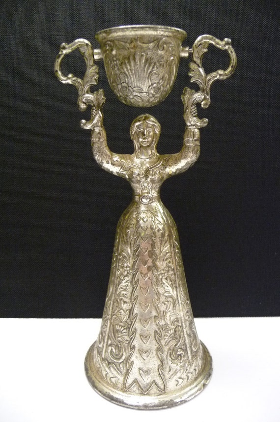 Vintage Bridal Wedding Double Cup Toasting Goblet Glass Silver