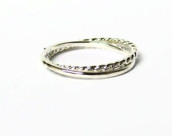 Silver interlocking rings Sterling silver ring set sterling silver rolling ring Russian wedding ring infinity ring