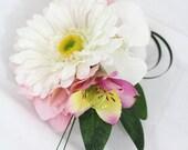 White Gerbera, Orchid, Pink Hydrangea Wrist Corsage - Prom, Wedding
