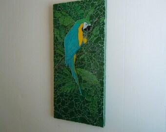 Mosaic Aqua Parrot, Beach,Jungle, Rainforest Decor