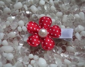 Red Satin with White Polka Dots Flower with Pearl Center Hair Clip - No Slip Grip - Baby - Toddler - Girl - Teen - Adult Hair Clip