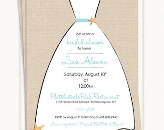 Beach Bridal Shower Invitations - Linen Dress
