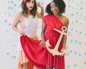 Sailor's Delight Red-Octopus Convertible Wrap  Short Dress