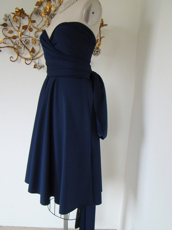 Ready to Ship- Last of Fabric-Nautilus Navy Blue Octopus Convertible Wrap Dress