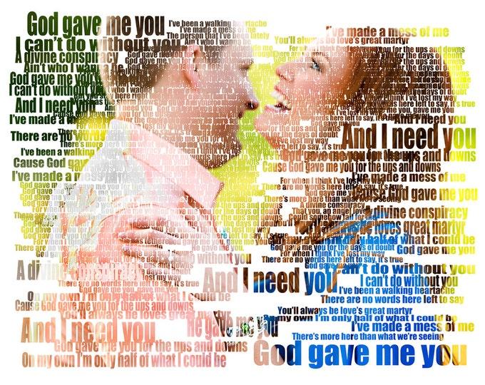 Song Lyric Art Gift For Boyfriend Gift For Girlfriend Gift For Him First Dance Lyrics Photo Gift Couple Portrait Gift Wedding Vows Art 16x20