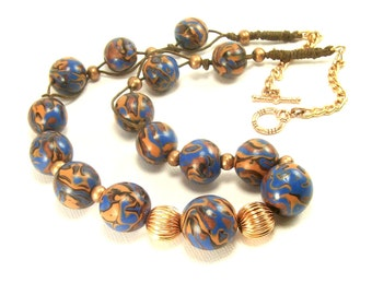 Blue and Copper Beaded Clay Necklace, Polymer Jewelry