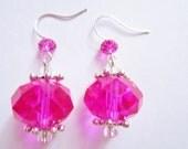 Large Pink Gem Earrings