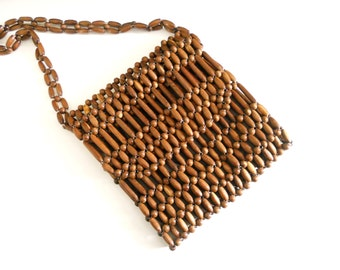Vintage Boho Brown Wooden Beaded Shoulder Bag Tote Purse