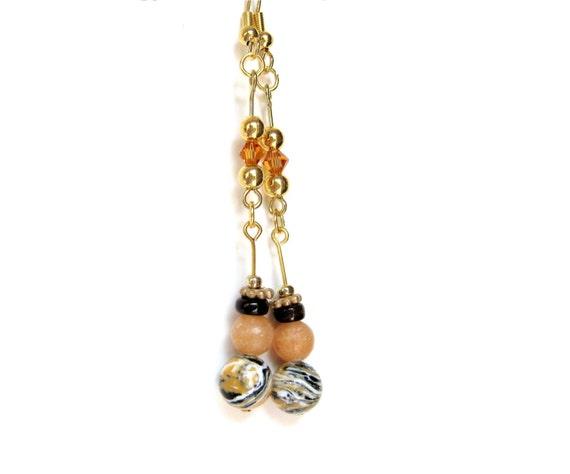 Honey Jasper Earrings, Golden Brown Dangle Earrings, Adventurine, Shell, Yellow Jasper Beads [Not valid without additional purchase**]