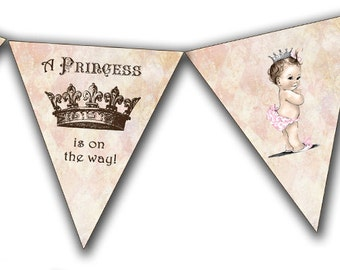 Vintage Baby Shower Invitation For Girl - Princess - Crown - Pink - DIY Printable Matching Banner NSTANT DOWNLOAD