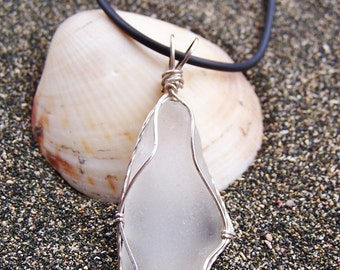Sea Glass Necklace in Frosty White with Intricate Sterling Wire Wrap on Black Cord Necklace W 39
