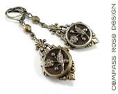 Antique Button Earrings - Amber Mocha Blossom - Victorian Button Earrings - Edwardian Teardrop
