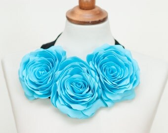 Necklace fabric flower jewelry accessory - Light blue, Turquoise