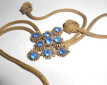 Blue Glass Lariat Victorian Bolo Tie Rope Necklace Antique Gold Filled Necklace With Blue Glass Accent Slide - Chic  Boho Eclectic Jewelry
