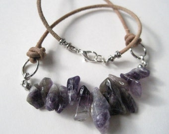 Amethyst Nugget Necklace Natural Stone Leather Cord