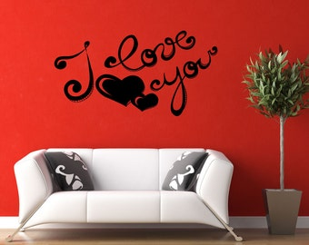 Vinyl Wall Decal Sticker I Love You 1049B
