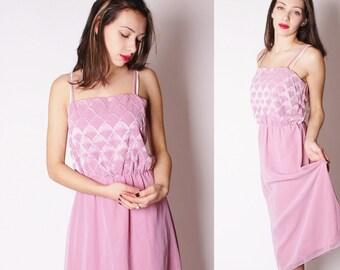Vintage 80s  Mauve Dusty Rose Mermaid Seashell Iridescent Dress / Vintage Pastel Dress / Mermaid Dress  / 2234