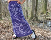 Vintage Floral Velvet Burnout Maxi Skirt in Aqua Periwinkle Shimmery Blue Medium