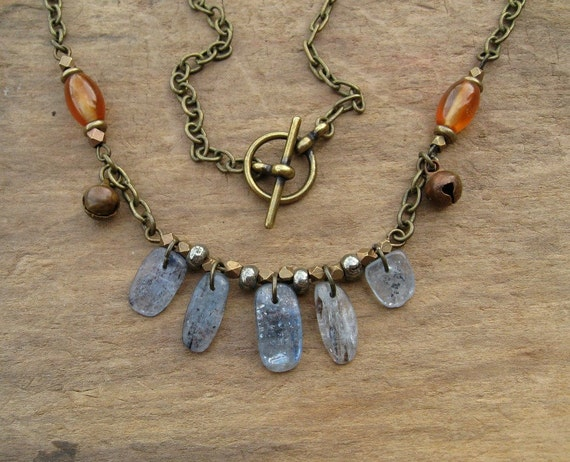 Tribal Necklace, Kyanite Necklace, blue and orange necklace with blue kyanite, orange carnelian and brass bells (great for bellydancers)