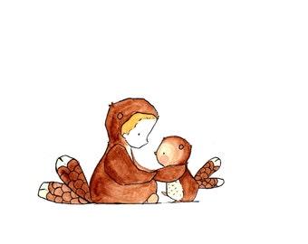 My Owl and Me -- Nursery Art Print