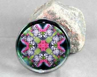 Butterfly Glass Paperweight Boho Chic Mandala New Age Sacred Geometry Hippie Kaleidoscope Mod Unique Boss Gift Teacher Gift Nymph Nirvana