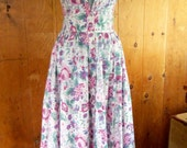 70s LAURA ASHLEY--Skimpy and Sexy Sundress--Lavender Roses--Bedsheet Cotton--Size 4
