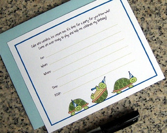 boy turtles customizable lined birthday party invitations with blue envelopes DIY - set of 10