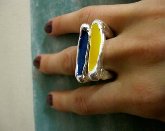 Spring Street Square Stackable Enameled Rings on Sale, available in silver and gold (various colors)