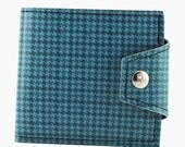 Blue Houndstooth Euro Wallet with Coin Pocket  40 Year Old Pontiac GTO Vinyl- Hold British Pounds and Dollars Too
