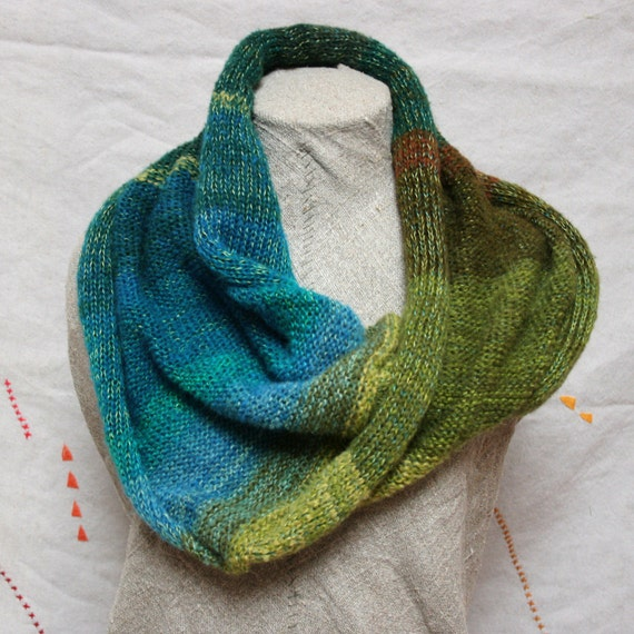 Knit Infinity Scarf, feather weight soft and warm - Routeburn Track